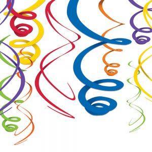 Espirales Decorativos – 12 pzas – MULTICOLOR ARCOIRIS
