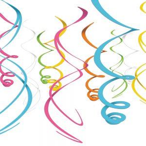 Espirales Decorativos – 12 pzas – MULTICOLOR