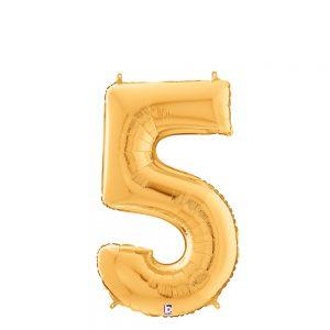 Número 5 Dorado 14in