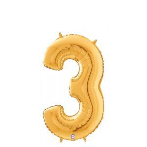 Número 3 Dorado 14in