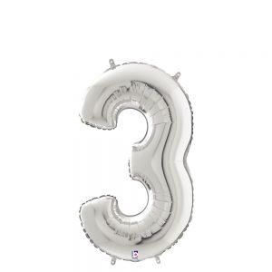 Número 3 Plata 14in