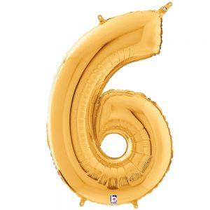 Número 6 Dorado 34in