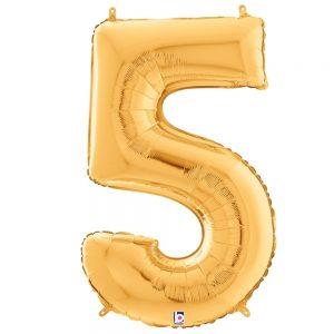 Número 5 Dorado 34in
