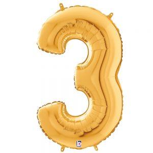 Número 3 Dorado 34in