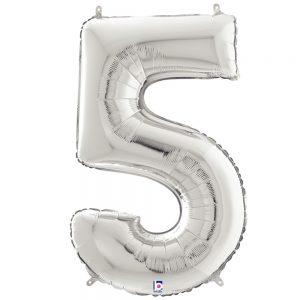 Número 5 Plata 34in