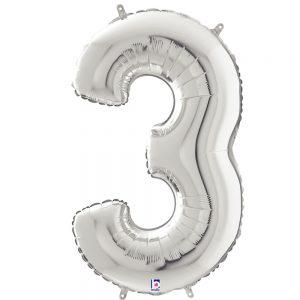 Número 3 Plata 34in