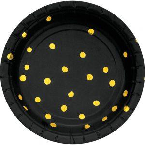 Stripes & Dots Negro c/ Foil Oro Plato Postre