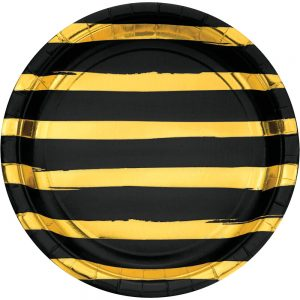 Stripes & Dots Negro c/ Foil Oro Plato Lunch