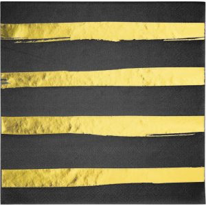Stripes & Dots Negro c/ Foil Oro Servilleta Lunch