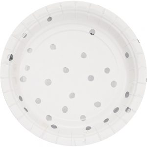 Stripes & Dots Blanco c/ Foil Plata Plato Postre