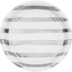 Stripes & Dots Blanco c/ Foil Plata Plato Lunch