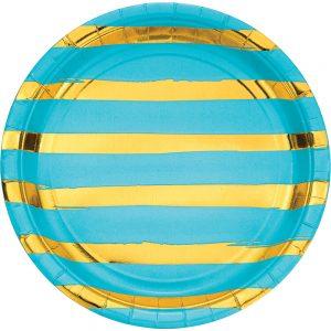 Stripes & Dots Acua c/ Foil Oro Plato Lunch