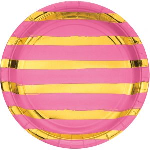 Stripes & Dots Rosa c/ Foil Plata Oro Plato Lunch