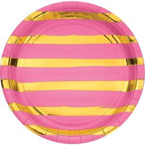 Stripes & Dots Rosa c/ Foil Plata Oro Plato Lunch
