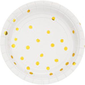 Stripes & Dots Blanco c/ Foil Oro Plato Postre