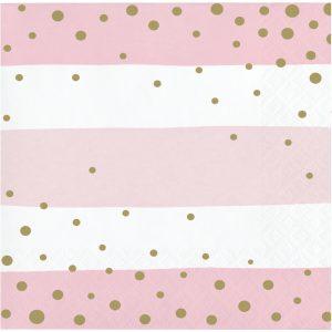 Pink and Gold Celebration Servilleta Coctel
