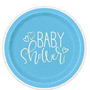 Blue Hearts Baby Shower Plato Postre