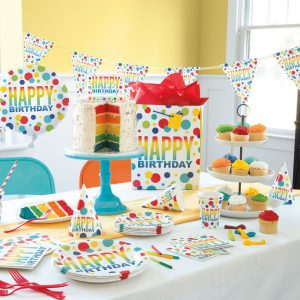Rainbow Dots Birthday Pennant Banner