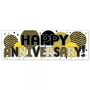 Anniversary Gold Balloons Banner