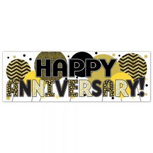 Anniversary Gold Balloons Banner