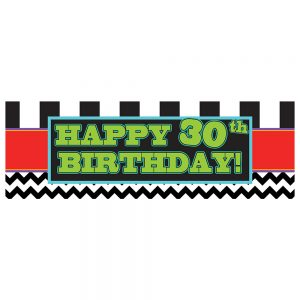 Birthday 30 Black Chevron & Stripes Banner