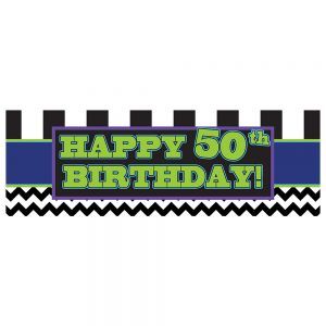 Birthday 50 Black Chevron & Stripes Banner