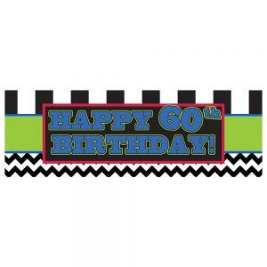 Birthday 60 Black Chevron & Stripes Banner