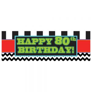 Birthday 80 Black Chevron & Stripes Banner