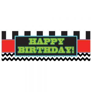 Birthday Black Chevron & Stripes Banner