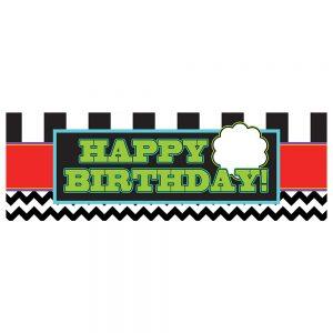 Birthday Black Chevron & Stripes Personalize Banner