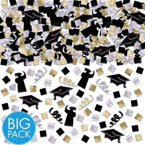 Black Gold Silver Graduación Confetti Mega