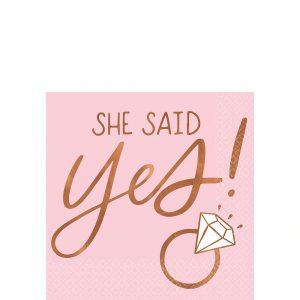 Blush & Rose Gold She Said Yes Servilleta Coctel