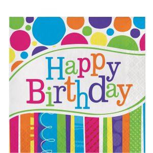 Bright and Bold Birthday Servilleta Coctel
