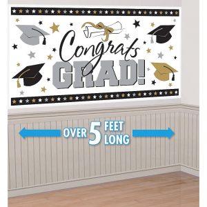 Black Gold Silver Graduación Banner