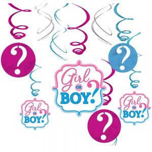 Girl or Boy Gender Reveal Swirls