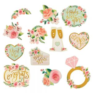 Mint Floral Wedding Cutout