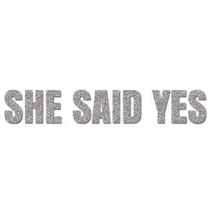 She Said Yes Plata- Glitter Banner