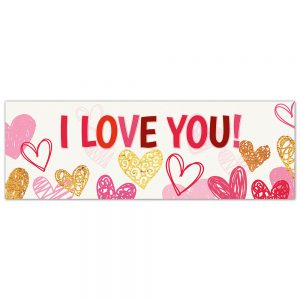 Valentine´s I love You Golden Hearts Banner