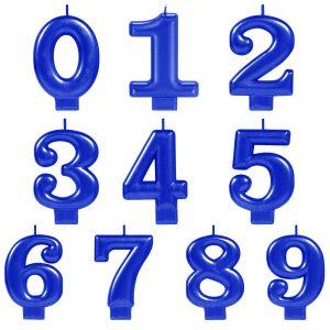 Vela de Número Metálica Azul
