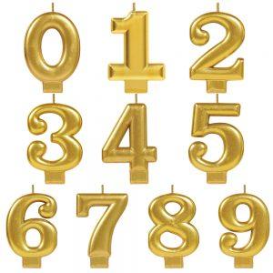 Vela de Número Metálica Oro