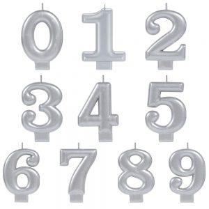 Vela de Número Metálica Plata