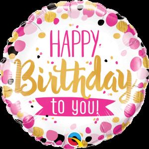 Globo Birthday Pink, Black & Gold Dots