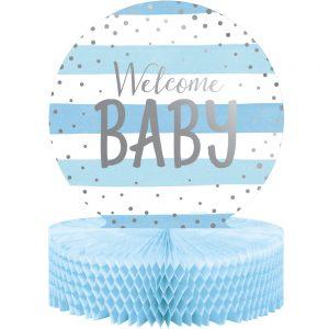 Blue & Silver Welcome Baby Centro de Mesa