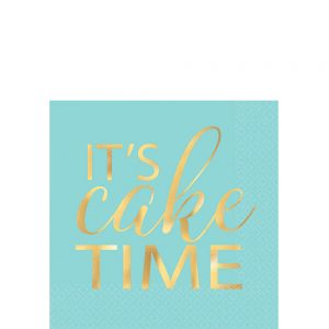 Gold & Turquoise It´s Cake Time Servilleta Coctel