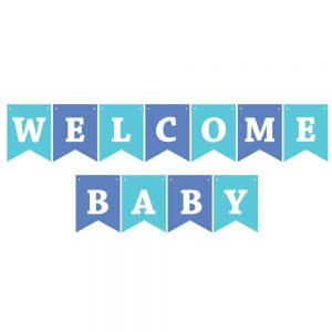 Welcome Baby Assorted Blues – Pennant Banner