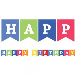 Happy Birthday Assorted Colors – Pennant Banner