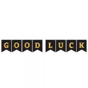 Good Luck Black & Gold – Pennant Banner