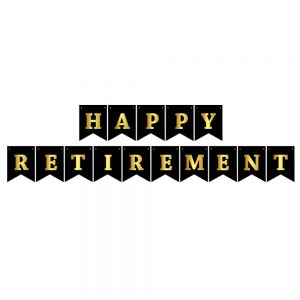 Happy Retirement Black & Gold- Pennant Banner