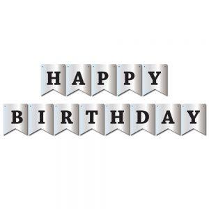 Happy Birthday Silver – Pennant Banner