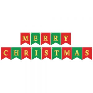 Merry Christmas Red/Green/Gold – Pennant Banner